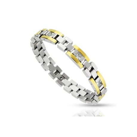 Bracelet acier inoxydable Duo et Gemme