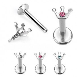 Piercing Labret Couronne Strass