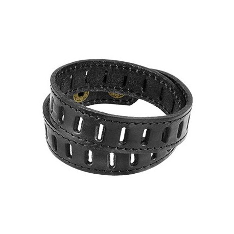 Bracelet Homme en Cuir Noir Fentes
