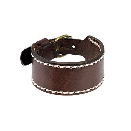 bracelet homme en cuir marron large. Black Bedroom Furniture Sets. Home Design Ideas