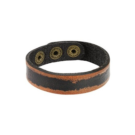 Bracelet Homme en Cuir Noir Bordures Marrons