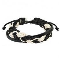 Bracelet Homme en Cuir Tressé Noir et Blanc