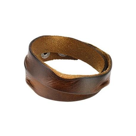 Bracelet Homme en Cuir Marron Bords Ecrasés