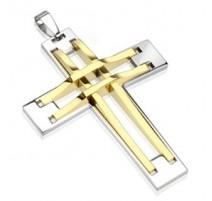 Pendentif Croix Argentée et Dorée