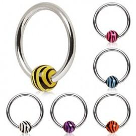 Piercing anneau boule Zèbré