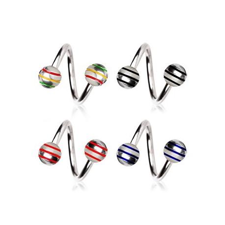 Piercing Spirale Boules Striées