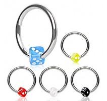 Piercing anneau Captif Dé Acrylique