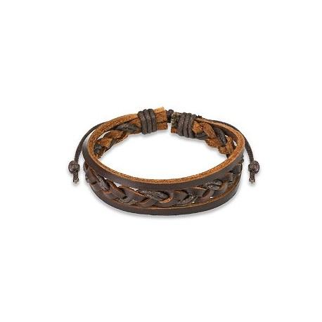 Bracelet Homme en Cuir Marron Tressé