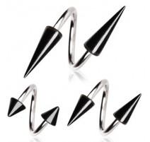 Piercing spirale pointe noir