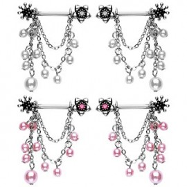 Paire piercing téton perles