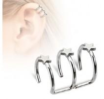 Faux Piercing Cartilage Triple Etoiles