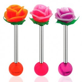 Piercing langue fleur rose silicone