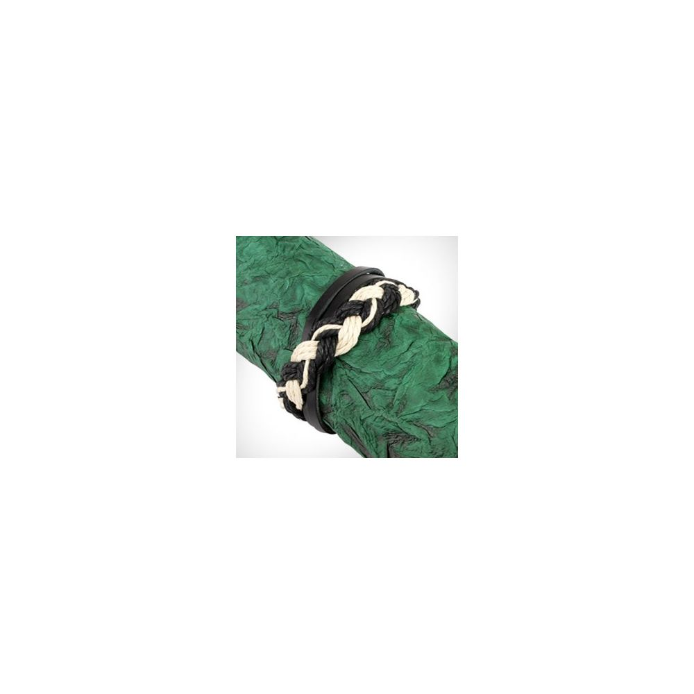 bracelet homme en cuir tress noir et blanc. Black Bedroom Furniture Sets. Home Design Ideas