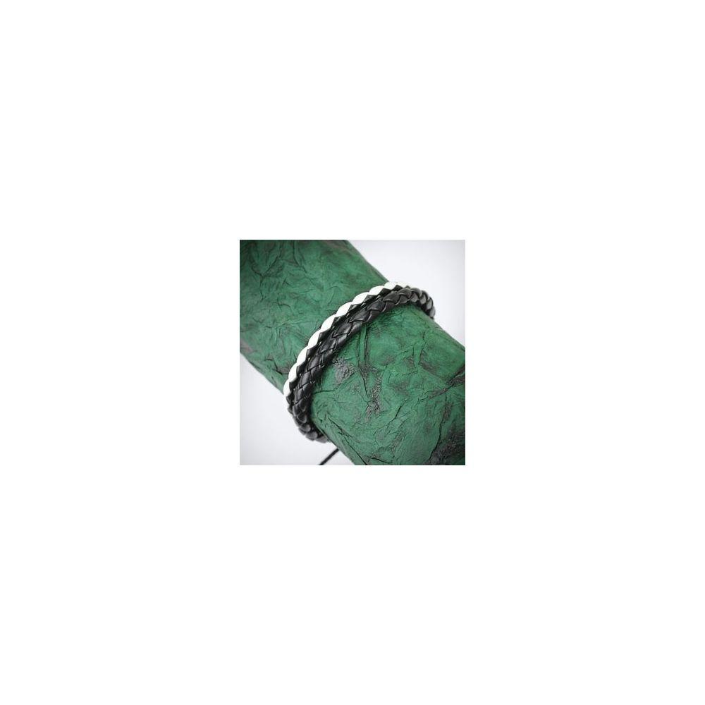 bracelet homme en cuir noir et blanc tress. Black Bedroom Furniture Sets. Home Design Ideas