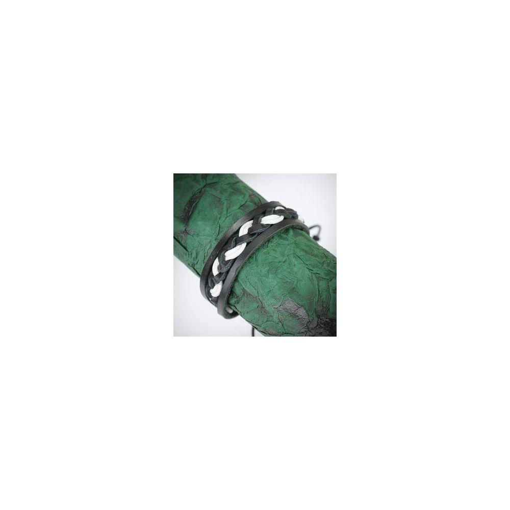 bracelet homme en cuir noir et blanc tress avec deux brins. Black Bedroom Furniture Sets. Home Design Ideas