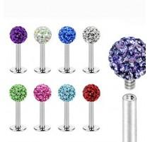 Piercing labret crystal shamballa