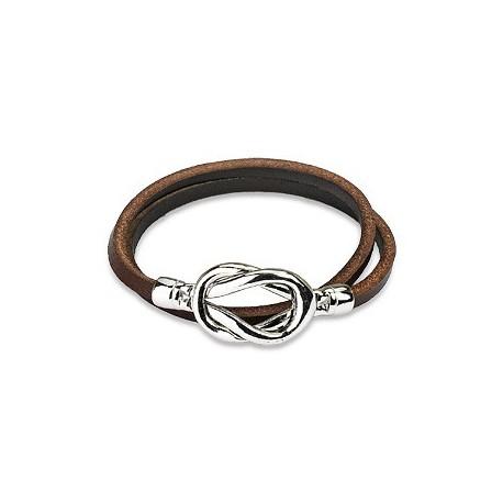 Bracelet cuir marron noeud acier