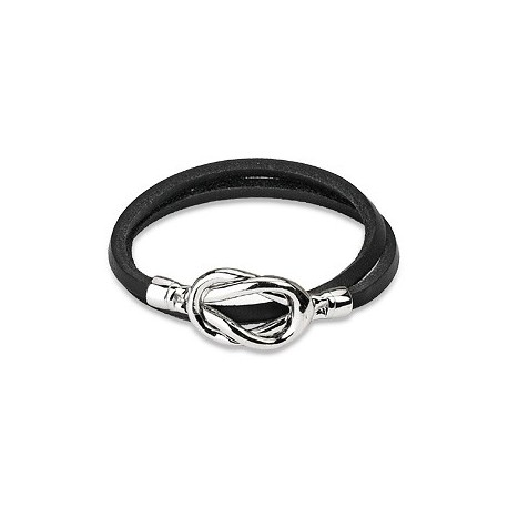 Bracelet cuir noir noeud acier