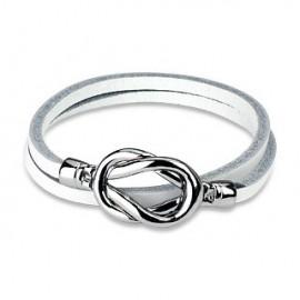 Bracelet cuir blanc noeud acier
