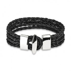Bracelet cuir noir 4 cordes