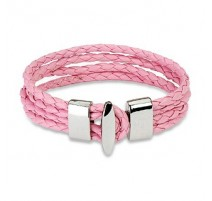 Bracelet cuir rose 4 cordes