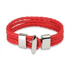 Bracelet cuir rouge 4 cordes