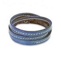 Bracelet cuir bleu triple lanière