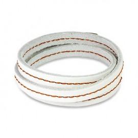 Bracelet cuir blanc triple lanière