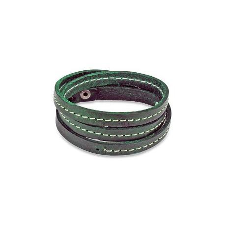 Bracelet cuir vert triple lanière