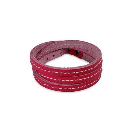 Bracelet cuir rose triple lanière