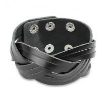 Bracelet homme cuir noir entrelacé