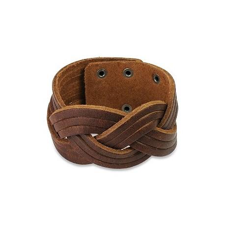 Bracelet homme cuir marron entrelacé