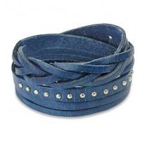 Bracelet cuir bleu multi brins