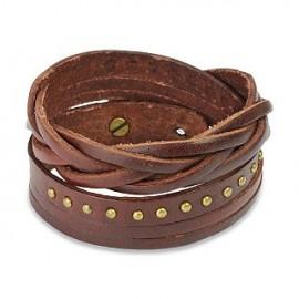 Bracelet cuir marron multi brins