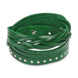 Bracelet cuir vert multi brins