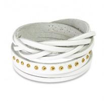 Bracelet cuir blanc multi brins