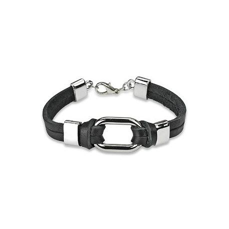 Bracelet cuir noir cercle acier