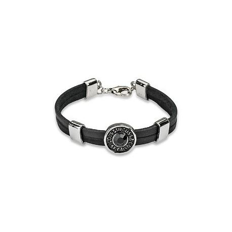 Bracelet cuir noir gemme