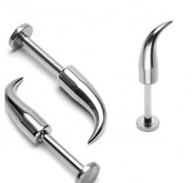 Piercing labret spike courbé