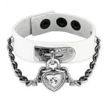 Bracelet cuir blanc cadenas coeur