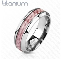 Bague titane fibre de carbone rose