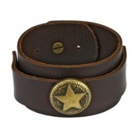 Bracelet homme cuir marron médaillon