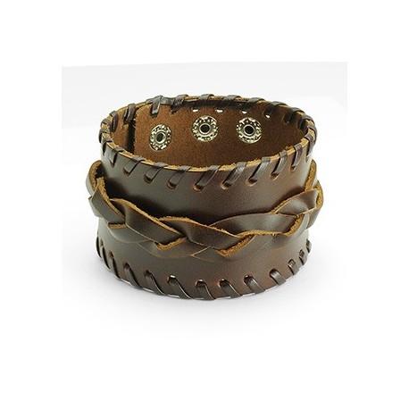 Bracelet homme cuir marron large