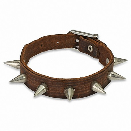 Bracelet cuir marron multi spikes