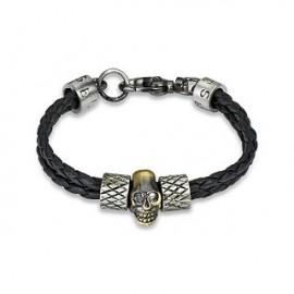 Bracelet homme cuir tête de mort