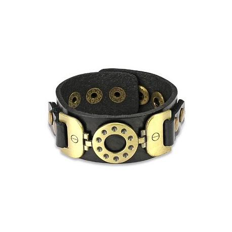 Bracelet cuir noir ceinture vintage