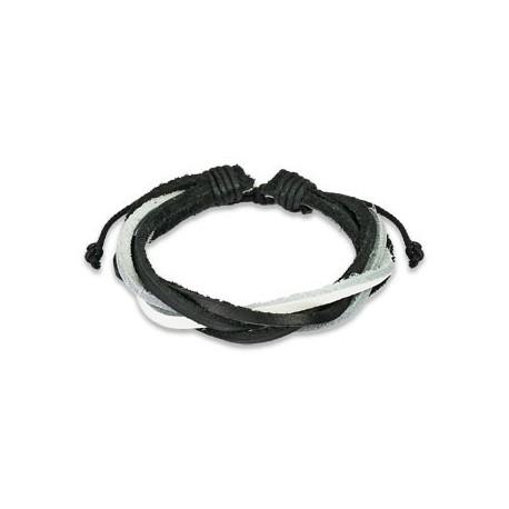 Bracelet Homme en Cuir noir et blanc 5 Brins