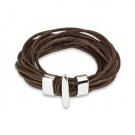Bracelet cuir marron multiples cordes