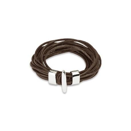Bracelet cuir marron multiples cordes
