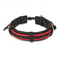 Bracelet cuir noir et rouge